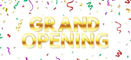 Grand opening background with color glittering falling confetti. Celebration template. Business opening ceremony. Announcement banner. Vector illustration. Vectores