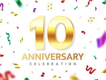 10th Anniversary celebration. Gold numbers with glitter color confetti, serpentine. Festive background. Decoration for party event. Tenth year jubilee celebration. Vector illustration Vectores