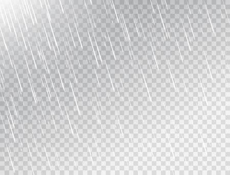 Rain on white transparent background. Rainfall texture. Rain storm. Realistic falling water drops. Rainy cloudy backdrop. Vector illustration