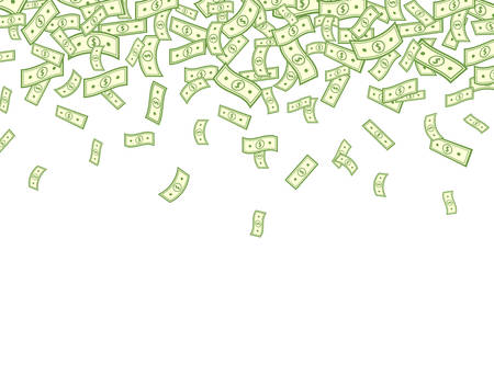 Dollar falling on white background. Banknotes icon explosion. Paper bank notes frame. Money in a flat style. Jackpot, big win. Cartoon cash sign. Currency collection. Dollar bills. Vector illustration