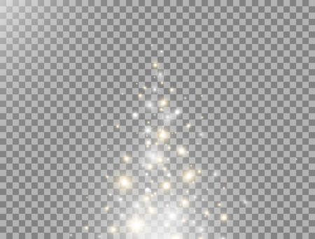 Magic particles flying up. Glitter and glowing light effect. Star burst with gold and white sparkles. Golden star dust. Christmas design. Luxury greeting decoration. Vector illustration
