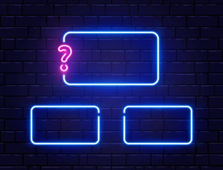 Quiz neon banner set. Glowing question mark. Color neon frames on brick wall. Realistic bright night signboard. Shining neon effect. Vector illustration Vectores