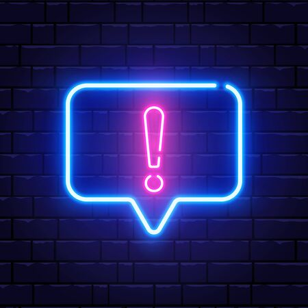 Neon glowing exclamation mark. Quiz neon banner. Shining neon speech bubble. Color neon frame on brick wall. Realistic bright night signboard. Vector illustration Vectores
