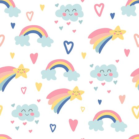 Hand drawn seamless pattern with rainbows, clouds, bright stars and hearts. Cute kids nursery. Sky background. Baby shower. Doodle design for wallpaper, fabric, wrapping, apparel. Vector illustration