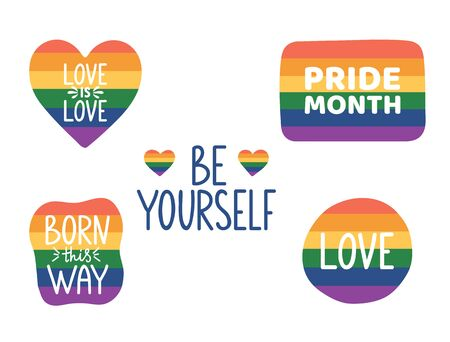 Be yourself hand lettering. Pride month hand drawn icon. LGBTQ stickers set. Tolerance day card. Pride flag. Born this way. Gay parade symbols. Vector illustration. Ilustracje wektorowe