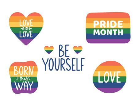 Be yourself hand lettering. Pride month hand drawn icon. LGBTQ stickers set. Tolerance day card. Pride flag. Born this way. Gay parade symbols. Vector illustration. Ilustração Vetorial