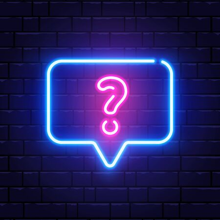 Neon glowing question mark. Quiz neon banner. Color neon frame on brick wall. Realistic bright night signboard. Shining neon speech bubble. Vector illustration.