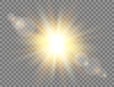 Sunshine with rays on transparent background. Sun light. Golden glowing light effect. Sunlight lens flash. Magic banner. Summer sunny backdrop. Vector illustration