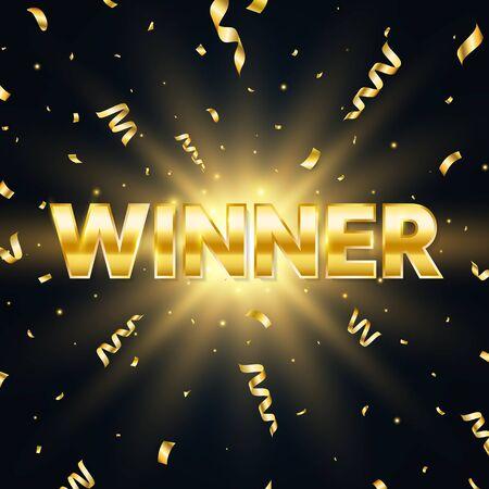 Winner golden text with sparkles and falling confetti. Bright congratulations background. Big win. Winners team. Confetti glitter explosion. Successful champions. Vector illustration Vectores