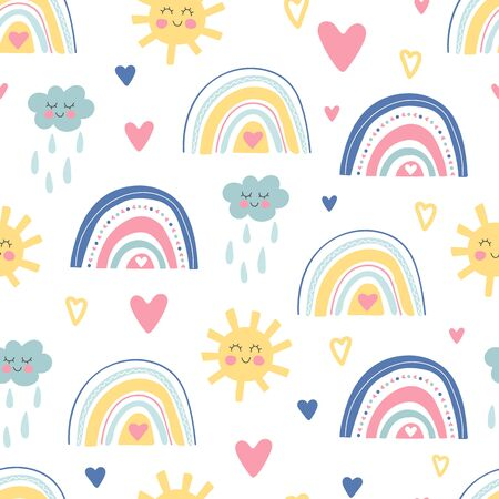 Cute kids nursery. Hand drawn seamless pattern with rainbows, smiling clouds, sun and hearts. Sky background. Baby shower. Doodle design for wallpaper, fabric, wrapping, apparel. Vector illustration Vectores