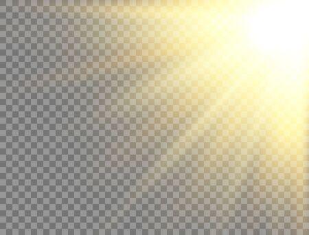Sun light on transparent background. Golden glowing light effect. Sunlight lens flash. Magic banner. Sunshine with rays. Summer sunny backdrop. Vector illustration Vectores