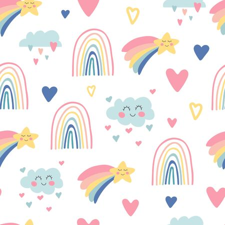 Kids nursery. Cute hand drawn seamless pattern with rainbows, smiling clouds and stars. Doodle design for wallpaper, fabric, wrapping, apparel. Baby shower. Sky background. Vector illustration Vectores