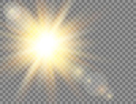Sun light. Golden glowing light effect on transparent background. Sunshine with rays. Sunlight lens flash. Magic banner. Summer sunny backdrop. Vector illustration