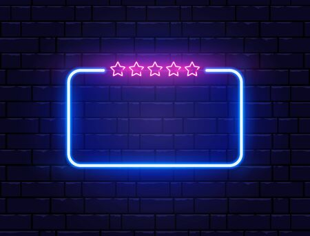 Neon frame with five stars. Neon quiz banner on brick wall. Star rating. Shining signboard. Night bright advertising. Color neon banner. Vector illustration