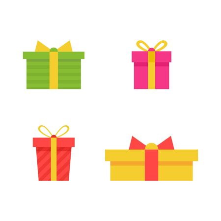 Gift boxes set isolated on white background. Prizes collection. Sale, shopping concept. Cartoon gift icon for birthday, party, christmas invitation, giveaway banner. Vector illustration