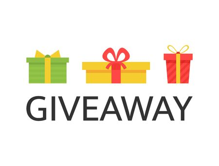 Giveaway banner with bright gift boxes. Social media background. Giveaway Christmas winner. Design elements for business account, advertising, web, flyer, promotion. Vector illustration Vectores