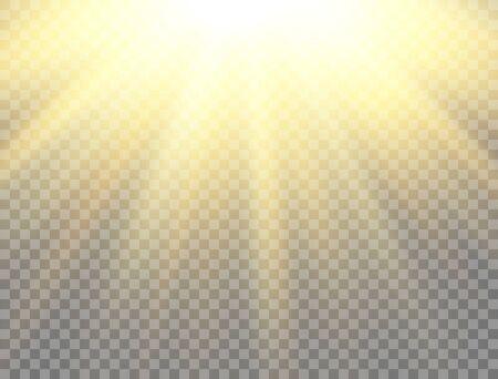 Sunny backdrop. Sun light on transparent background. Golden glowing light effect. Sunlight lens flash. Magic banner. Sunshine with rays. Vector illustration