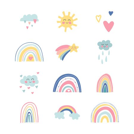 Cute kids nursery set. Hand drawn rainbows, sun, funny clouds, stars, hearts. Sky background. Baby shower. Lovely cartoon rainbows for wallpaper, fabric, wrapping, apparel. Vector illustration.