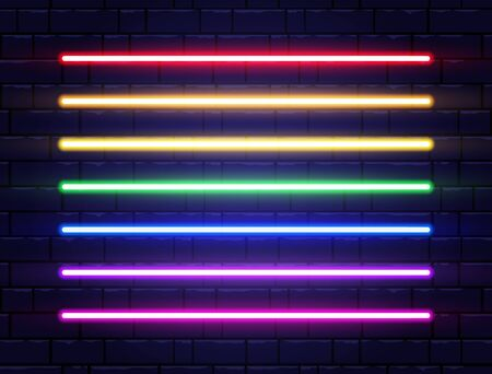 Neon lines collection on brick wall. Realistic led neon tube set. Rainbow borders. Bright design elements for advertising, night party, game, web. Shining night signboard. Vector illustration.