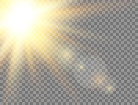 Golden glowing light effect on transparent background. Sun light. Summer sunny backdrop. Magic banner. Sunshine with rays. Sunlight lens flash. Vector illustration.