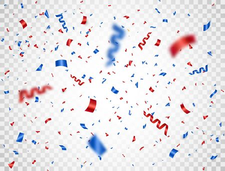 Red and blue confetti falling on transparent background. Happy Independence Day. Usa celebration design elements. Bright decoration for Birthday party, invitation, card, web. Vector illustration