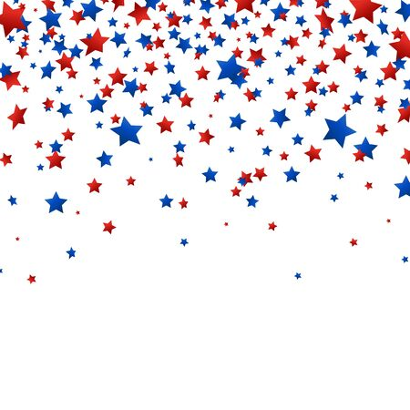 Red and blue stars confetti falling on white background. Bright decoration for Birthday party, invitation, card, web. Happy Independence Day. Usa celebration design elements. Vector illustration