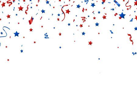 Usa banner. Red and blue celebration confetti and stars falling on white background. Happy Independence Day decoration. Bright design elements for Birthday party, invitation, web. Vector illustration
