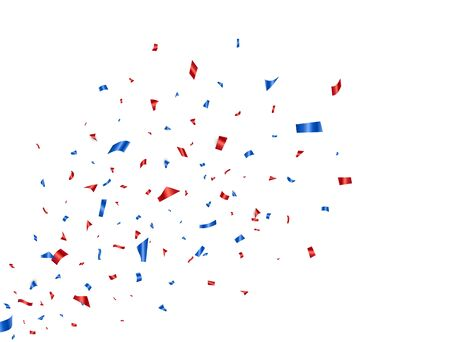 Confetti blue and red splash. Glitter color confetti falling on white background. Happy Independence Day decoration. Party backdrop. Usa banner. Holiday design elements. Vector illustration