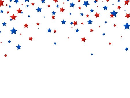 Stars red and blue confetti falling on white background. Bright decoration for Birthday party, invitation, card, web. Happy Independence Day border. Usa celebration design. Vector illustration.