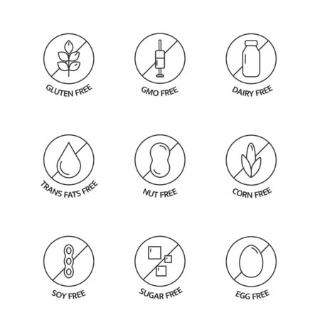 Product free allergen line icons. Food intolerance. Organic food and drink stickers. Natural products labels. Food dietary. Healthy eating. GMO free emblems. Vegan, bio. Vector illustration