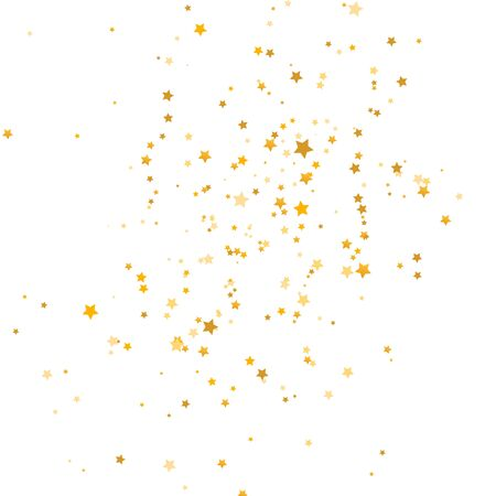 Golden stars falling on white background. Glitter gold shooting stars. Christmas texture. Luxury elegant design elements. Magic decoration. Vector illustration.