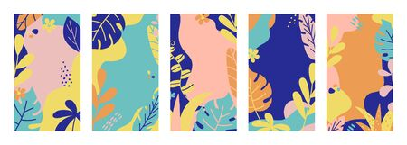 Summer banner collection. Social media template stories with tropical leaves and plants in pastel colors. Summer vacation concept. Bright design for banner, poster, advertising. Vector illustration Vectores