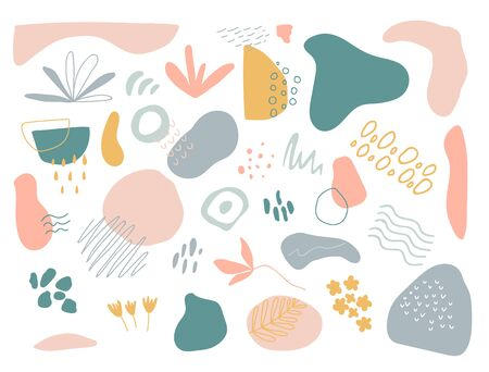 Organic shapes set on white background. Hand draw abstract design elements in pastel colors. Minimal stylish cover template. Art form for social media stories, branding, banner. Vector illustration. Vectores