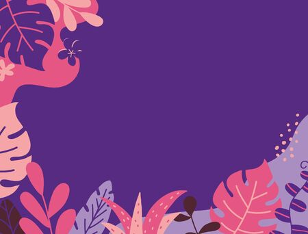 Summer banner with tropical leaves and plants. Social media template stories. Summer vacation concept. Cover design. Color decoration for banner, poster, advertising. Vector illustration