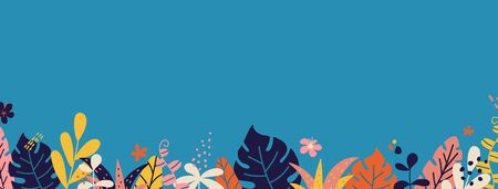 Summer long border with tropical leaves and plants. Cover design. Social media template stories. Summer vacation concept. Color decoration for banner, poster, advertising. Vector illustration.