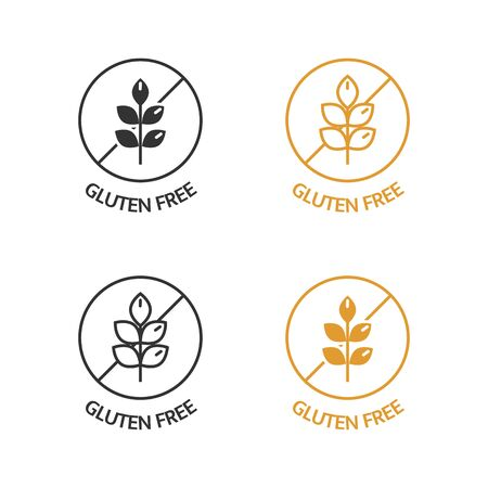 Gluten free icons set. No wheat symbols for food package, dietary products. Natural ingredients label. Product free allergen. Organic stickers. Healthy eating. Vegan, bio. Vector illustration Vectores