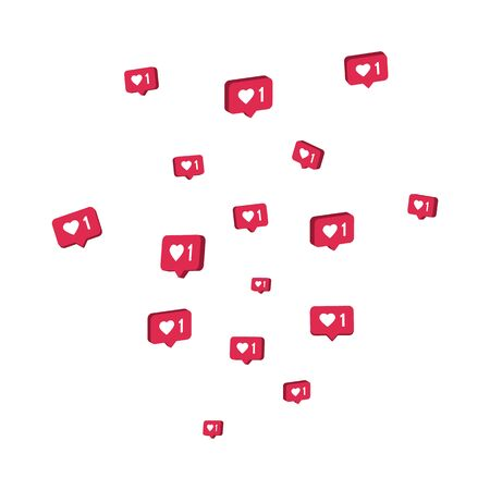 Like 3d icons flying on white background. Comment and follower symbol. Social media elements. Counter notification border. Social network composition. Emoji reactions. Vector illustration Vectores