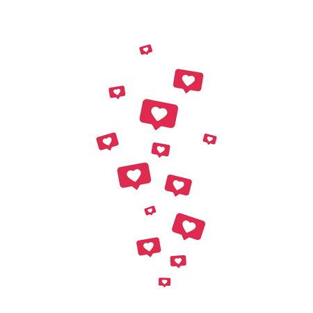 Like icons flying on white background. Social media elements. Counter notification border. Comment and follower symbol. Social network composition. Emoji reactions. Vector illustration
