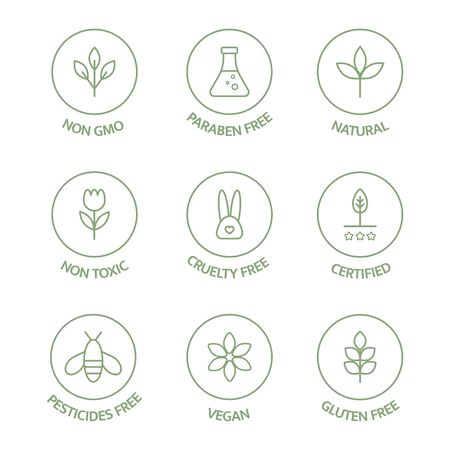 Organic cosmetic badges collection. Product free allergen line icons set. Organic stickers. Natural products labels. GMO free emblems. Healthy eating. Vegan, bio food. Vector illustration