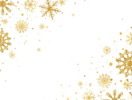 Golden snowflakes border with different ornaments. Gold falling snowflakes on white background. Luxury glitzy Christmas garland. Winter ornament for packaging, cards, invitations. Vector illustration.