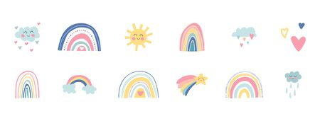 Hand drawn rainbows, sun, funny clouds, stars, hearts on white background. Baby shower. Cute kids nursery set. Lovely cartoon rainbows for wallpaper, fabric, wrapping, apparel. Vector illustration.