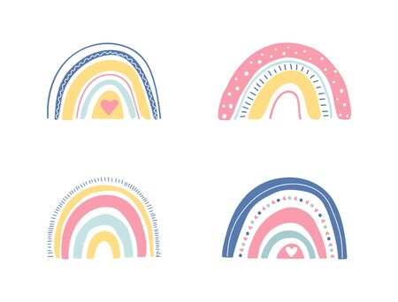 Hand drawn unique rainbow set. Cute kids nursery collection in pastel colors. Baby shower. Lovely cartoon rainbows for wallpaper, fabric, wrapping, apparel. Vector illustration.