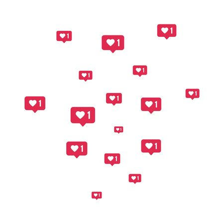 Social media elements composition. Counter notification border. Like icons flying on white background. Comment and follower symbol. Social network. Emoji reactions. Vector illustration. Vectores