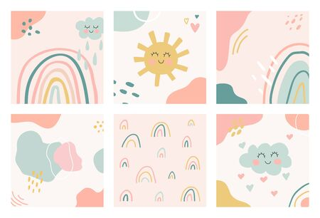 Hand drawn unique organic shapes composition. Set of six cute kids nursery backgrounds. Contemporary modern design. Minimal stylish cover template in pastel colors. Vector illustration.