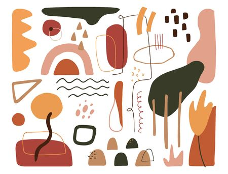 Contemporary art design elements set. Modern abstract cover. Minimal background. Organic shapes in pastel colors. Trendy geometric texture. Paper cut doodle objects. Vector illustration.
