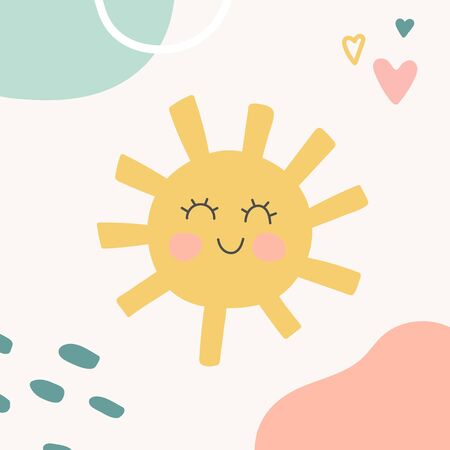 Kids nursery decoration with funny sun. Organic shapes cover design in pastel colors. Hand drawn unique doodle objects. Abstract background. Contemporary texture. Vector illustrations. Stock Illustratie