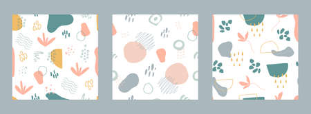 Organic shapes seamless pattern set. Minimal stylish cover design collection. Unique hand drawn shapes texture in pastel colors. Memphis style background. Social media stories. Vector illustration.