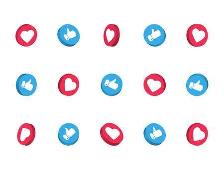 3d like and thumbs up icon set isolated on white background. Social network symbol. Counter notification. Social media elements. Emoji reactions. Vector illustration Ilustração Vetorial