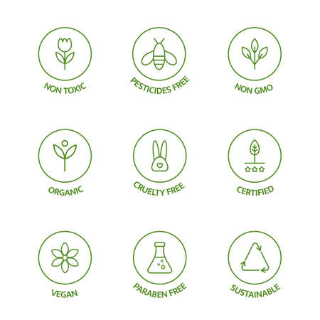 Organic stickers. GMO free emblems. Organic cosmetic line icons set. Natural product badges. Product free allergen labels. Healthy eating. Vegan, bio food. Vector illustration