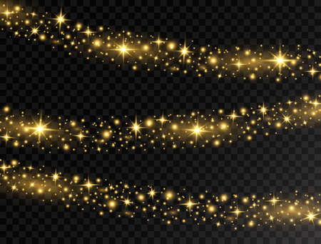 Christmas glowing lights. Bright luxury golden garland light. Holiday decoration with shining stars, and glitter. Party design elements for xmas cards, banners, posters, web. Vector illustration Ilustracja